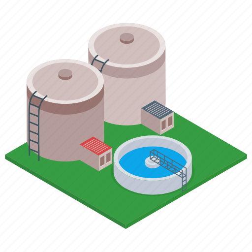 commercial building, factory, manufacturing unit, mill, oil refinery industry icon