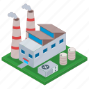 commercial building, manufacturing unit, oil refinery industry, factory, mill icon
