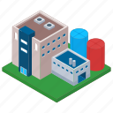 commercial building, mill, oil refinery industry, factory, power plant icon