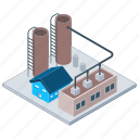 commercial building, mill, oil factory, oil refinery industry, power plant icon