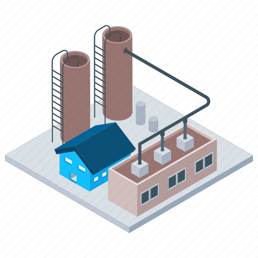Commercial building, mill, oil factory, oil refinery industry, power plant icon - Download on Iconfinder