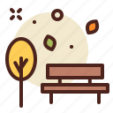 bench, landscape, outdoor, park, rest, tree icon