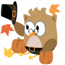 autumn, cartoon, decoration, fall, owl icon