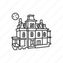 halloween, haunted, haunted house, horror, house, mansion, moon icon