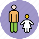daughter with father, familiar, family member, father, human, kid with father, people icon