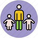 children, family, father with kids, kids, man, two kids icon