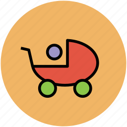 baby in trolley, baby on stroller, baby stroller, infant stroller, stroller icon