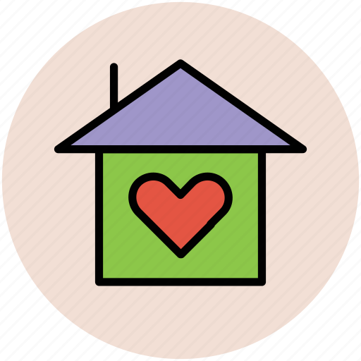 building, heart on home, home, loving home icon