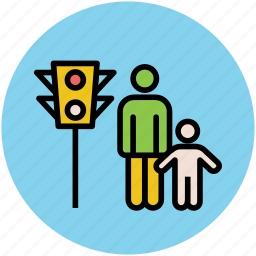 crossing road, father and son, person on traffic, signals traffic, traffic signals icon