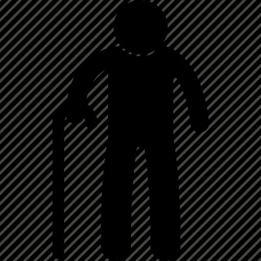 elderly, grandfather, male, man, old, senior, stick icon