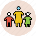 familiar, family, members, mother with kids, people, siblings icon