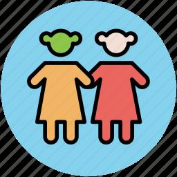 baby girls, children, kids, kids avatar, two babies icon