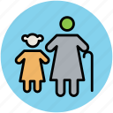 elderly, granddaughter, grandmother, old age, old lady, old woman icon