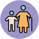 elderly, grand son, grandmother, grandson, old age, old lady, old woman icon