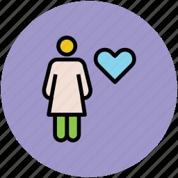familiar, female, heart shape, love, people, romance icon