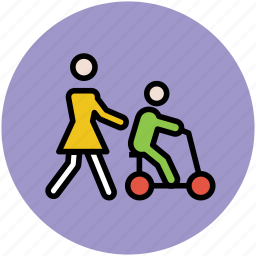 baby bicycle, baby bike, baby on bike, mother and son, son playing, training wheels icon