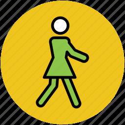 familiar, female, girl, walking, woman icon