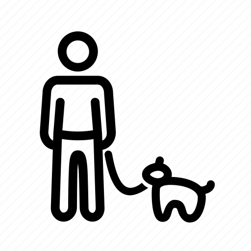 dog, male, man, man with dog, walking the dog icon