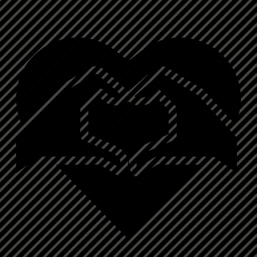 hand, heart, love, valentines icon