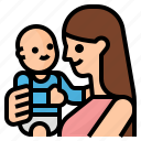 baby, family, holding, mom icon