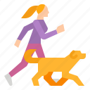 dog, family, jogging, woman icon
