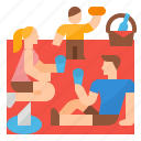 family, park, picnic, sandwich icon