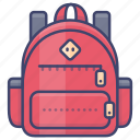 backpack, bag, camping, school icon
