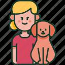family, pet, girl, love, child, dog, kid