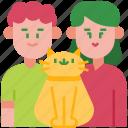family, happy, couple, parents, pet, cat, love