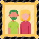 photo, family, frame, house, parent, couple, family photo icon
