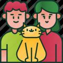 happy, parents, pet, family, couple, cat, love