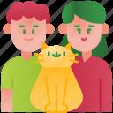 parents, pet, couple, love, family, happy, cat