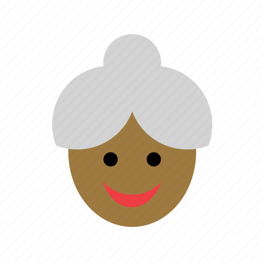 avatar, black, color, face, grandmother, old, woman icon