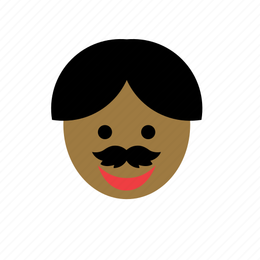 avatar, black, color, face, man, moustache, mustache icon