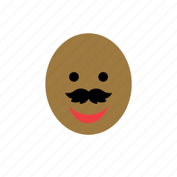avatar, bald, black, color, face, man, mustache icon