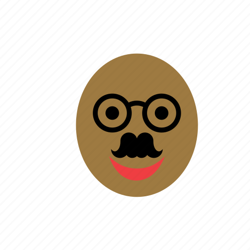 bald, black, color, face, glasses, man, mustache icon