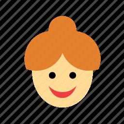 bun, chignon, face, ginger, people, redhead, woman icon