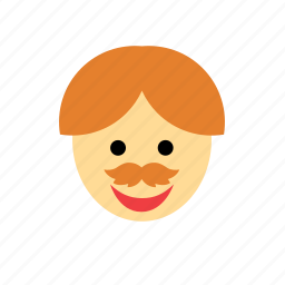 face, ginger, man, moustache, mustache, people, redhead icon