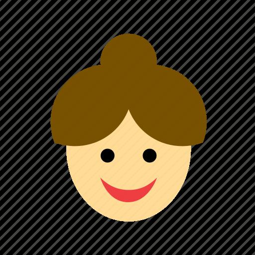 avatar, bun, chignon, face, people, person, woman icon