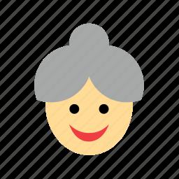 avatar, bun, chignon, face, grandmother, old, woman icon