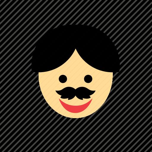 avatar, dark hair, face, man, moustache, mustache, people icon