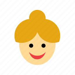 blonde, bun, chignon, face, people, person, woman icon