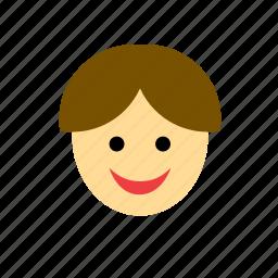 avatar, boy, brown hair, face, kid, man, people icon