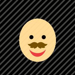 avatar, bald, face, man, moustache, mustache, people icon
