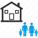 children, estate, family, father, home, house, morther icon