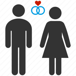 couple, female, happy, heart, male, wedding, wedding ring icon
