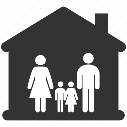 children, familiar, family, father, home, house, morther icon