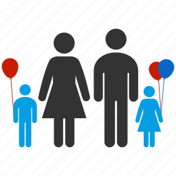 balloons, children, family, father, kids, mother, social icon