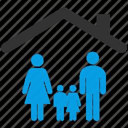children, estate, family, father, home, morther icon