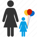 balloons, children, familiar, family, kid, morther, toy icon
